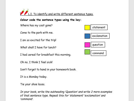 4 sentence types - Year 3