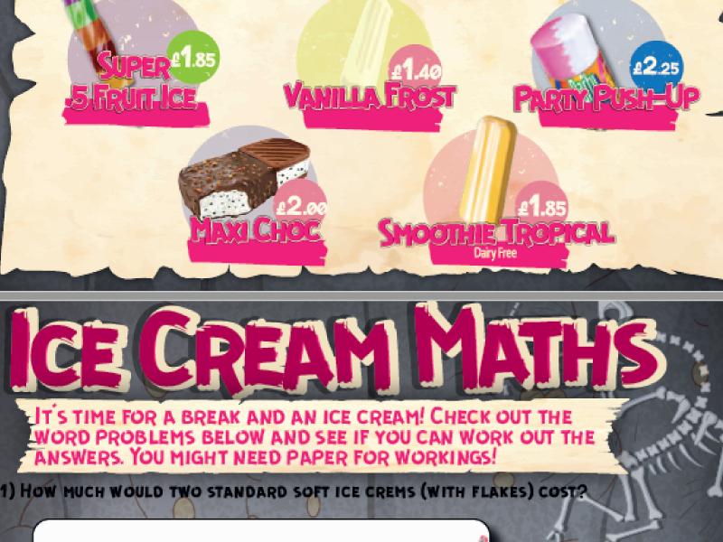Ice Cream Maths - word money problems (A)