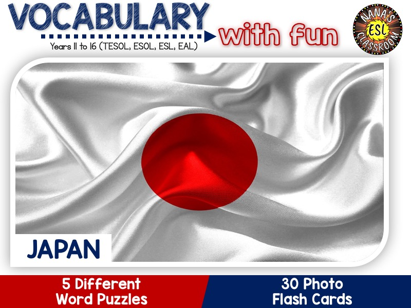 Japan - Country Symbols: 5 Different Word Puzzles and 30 Photo Flash Cards (IGCSE ESL, TESOL, ESOL)
