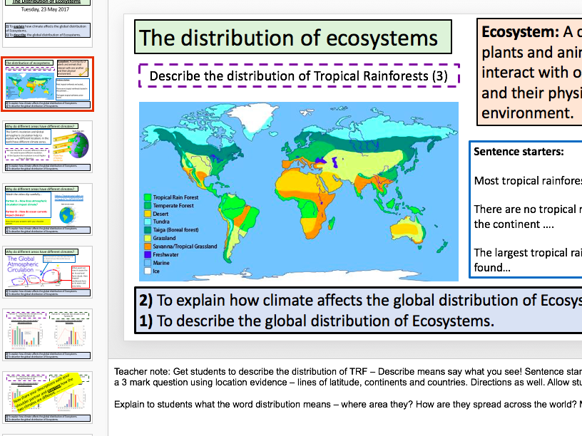 The Distribution of Ecosystems and Climate (KS3 links AQA 9-1)