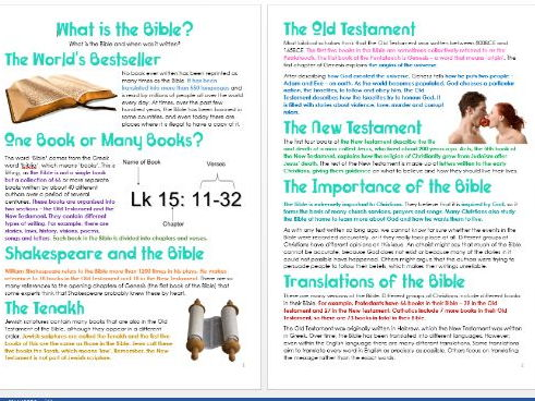 Genesis: What is the Bible? Differentiated Information and Task Sheets