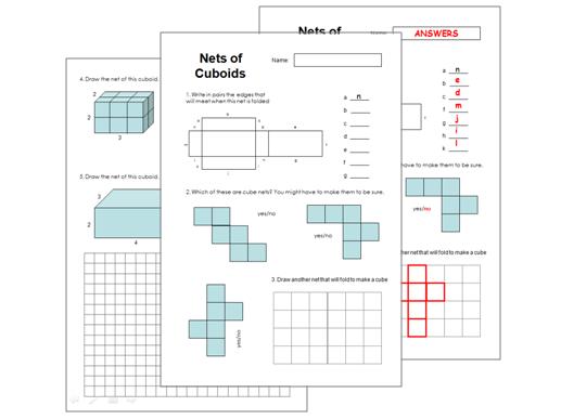 Nets of Cuboids Worksheet