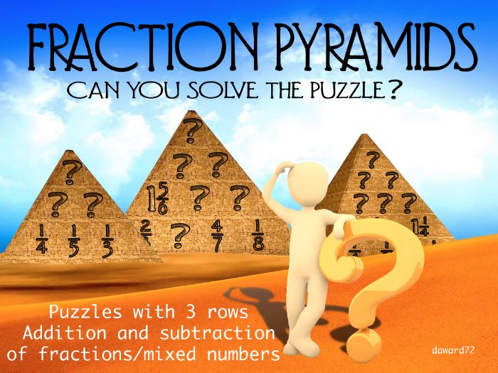 FRACTION PYRAMIDS (3 rows) - Number Pyramids but with fractions +ANSWERS +BLANKS + CLIPART