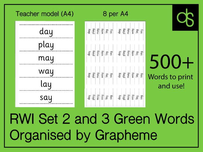 Read Write Inc Set 2 and 3 Green Words - 500+ Phonics Decodable Words