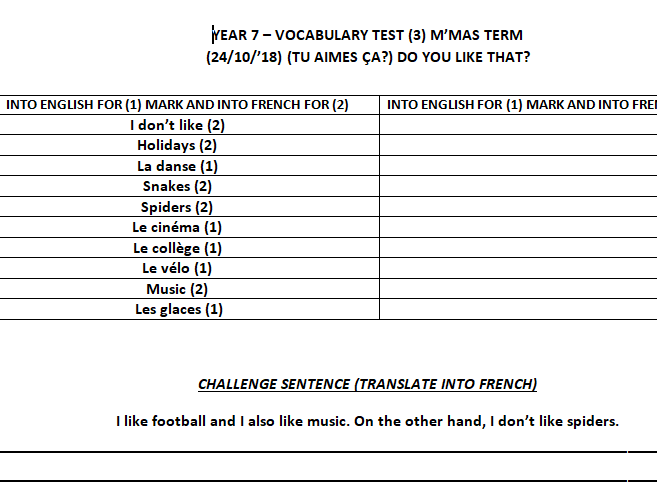 Set of vocabulary tests for Year 7 French on first topic of Dynamo 1