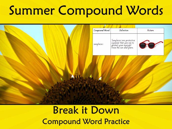 Compound Words Worksheet Summer themed