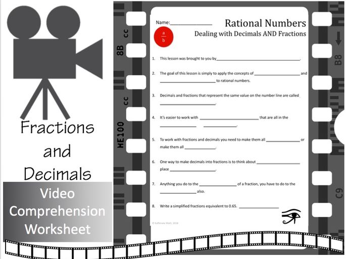 Fractions and Decimals:  Video Comprehension Activity