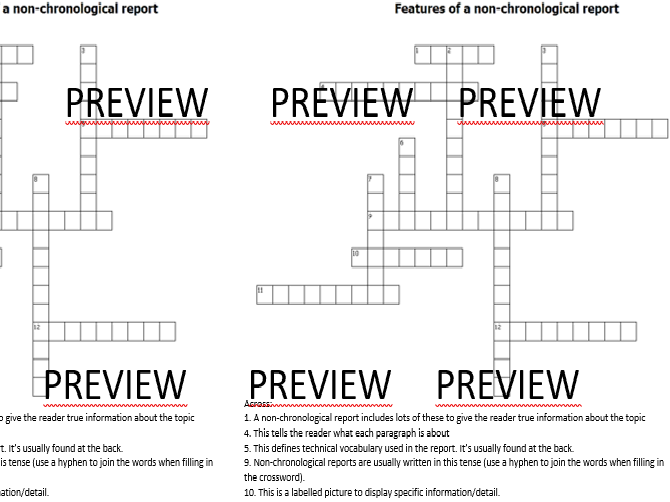 Features of a Non-chronological Report CROSSWORD