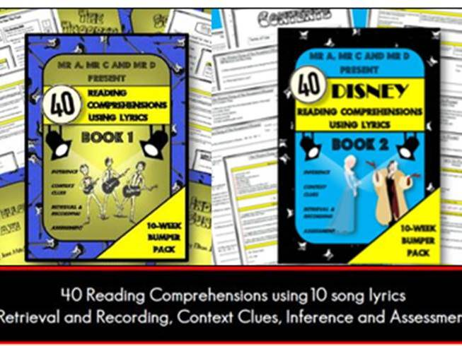 *BUNDLE* Lyric Reading Comprehensions (DISNEY and ROCK)