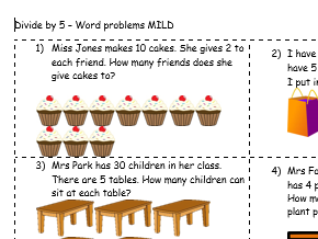 Dividing by 5 - Year 2 word problems