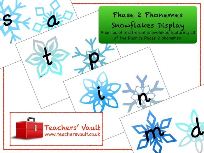Phase 2 Phonemes Snowflakes Display