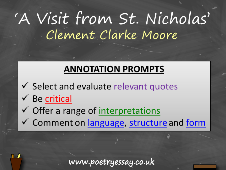 Clement Clarke Moore – 'A Visit from St. Nicholas' – Annotation / Planning Table / Questions / Book