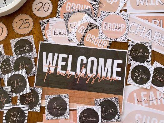 B+W NEUTRALS Classroom Labels + Signs Pack