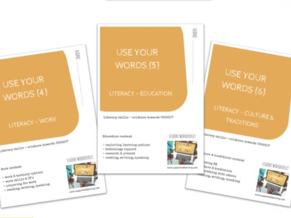 SEN DAY-TO-DAY LITERACY BUNDLE  - (4) - (6) THEMES X3 workbooklets
