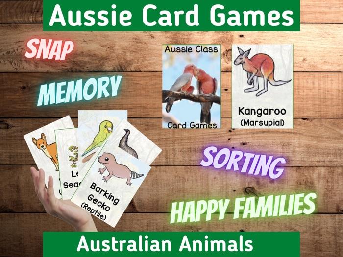 Australian Animals   Card Games   Fun Holiday Activity   Printable