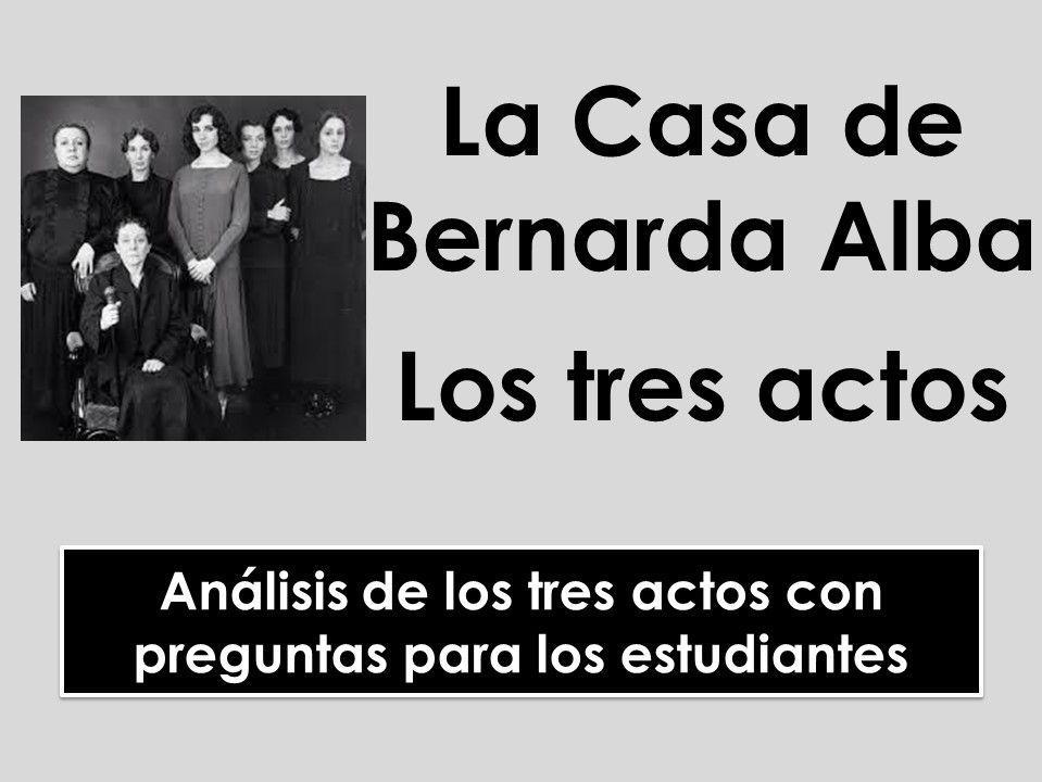 A-level Spanish: La Casa de Bernarda Alba - Análisis de los tres actos