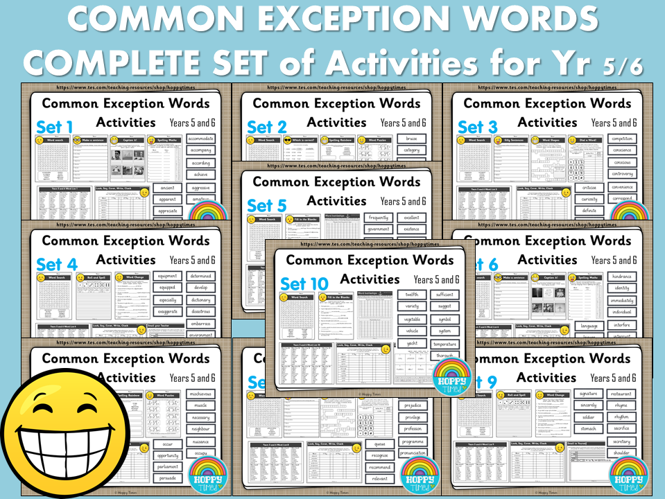 Complete Set Year 5/6 Common Exception Words Spelling Activities
