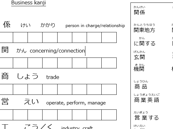 A Level Japanese: kanji Education and Employment paper 1 AS