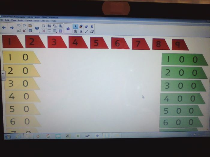 Place value arrows, infinitely cloned for interactive whiteboard