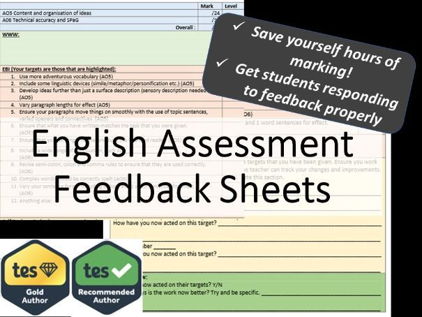 English Assessment Feedback Sheets - reading and writing