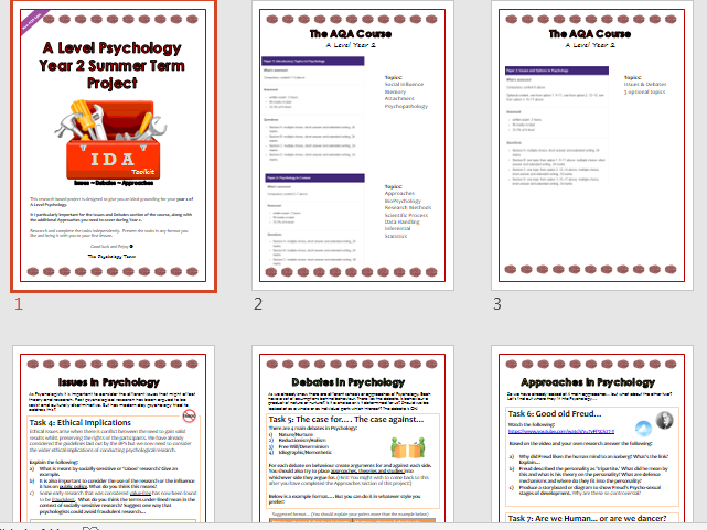 A Level Psychology Issues & Debates Summer Project (Year 2)