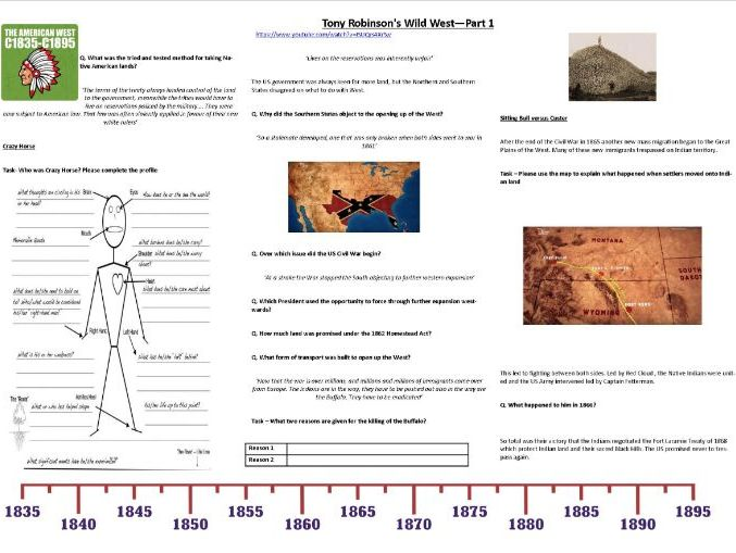 Tony Robinson's Wild West—Part 1 - Worksheet to support the Documentary