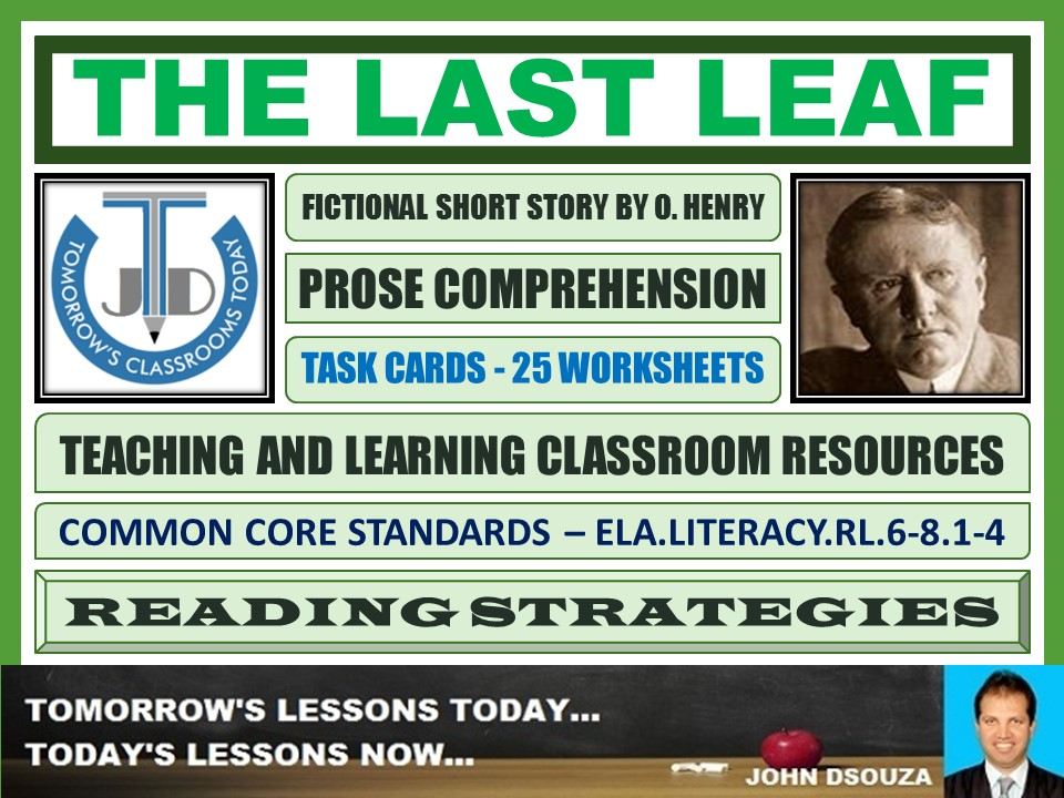 THE LAST LEAF - STORY COMPREHENSION - TASKS AND EXERCISES