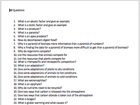 AQA Biology Paper 2 B8 Ecology revision questions