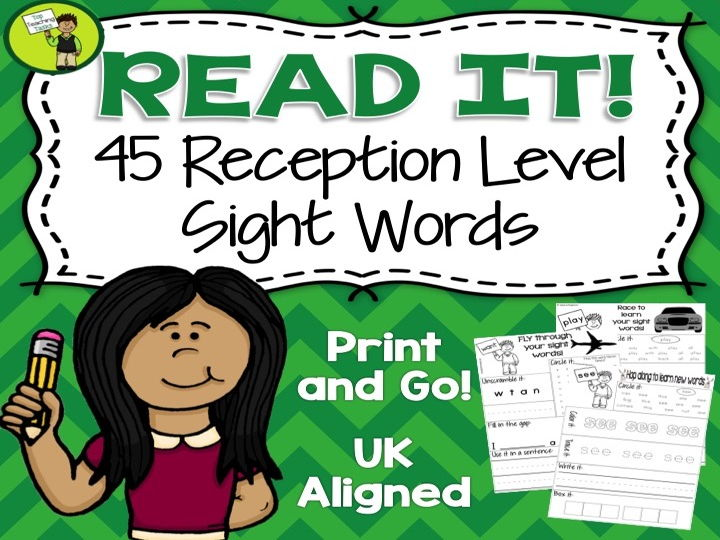 High Frequency Sight Word Activity Sheets for Reception - UK