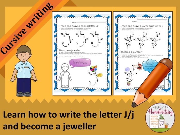 Learn how to write the letter J (Cursive style) and become a jeweller