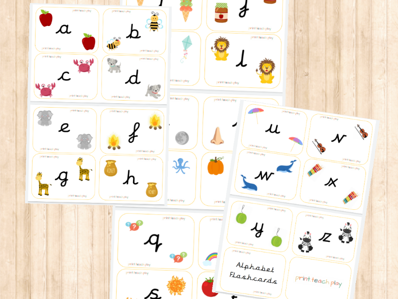 Alpabet Flashcards - Unjoined Cursive - Lowercase
