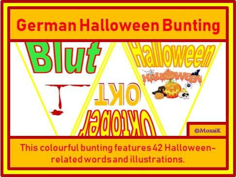German : 42 Flags for Halloween Bunting