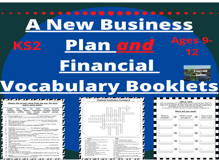 A New Business Plan and Financial Vocabulary Booklets Bundle