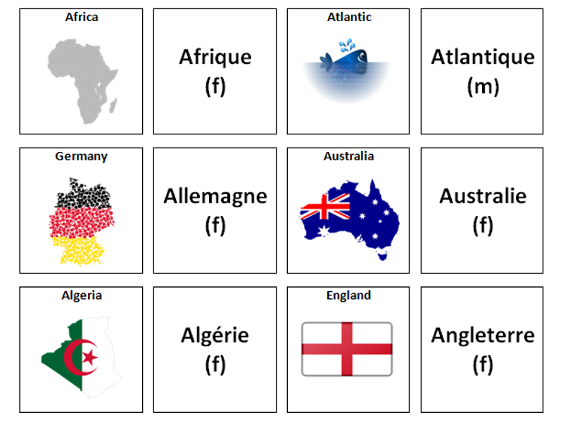 Places And Countries: French Vocabulary Card Sort