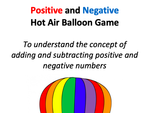 Positive and Negative Hot Air Balloon Game