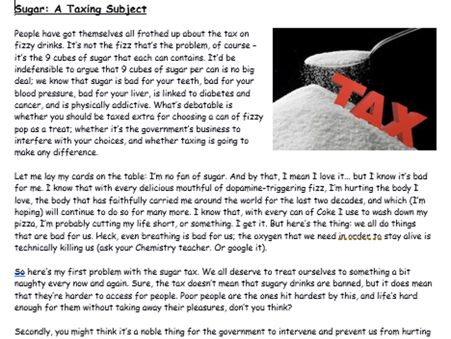 Reading Comprehension - Sugar Tax