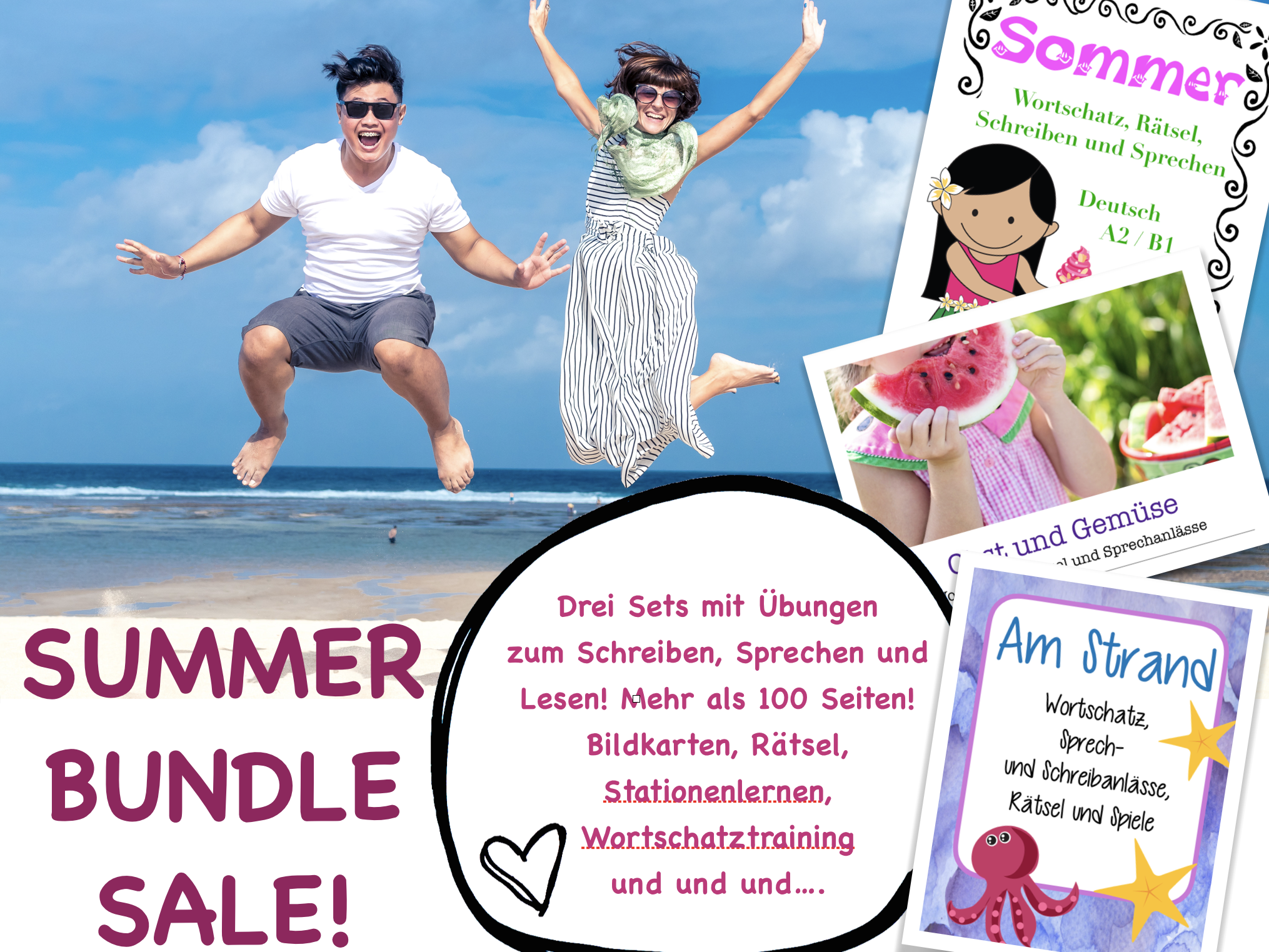 MEGA SOMMER bundle! Three resource sets in one! Deutsch / German Back to school summer set