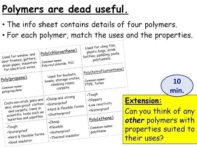 GCSE Chemistry Polymer Uses, Properties and Problems Full Lesson (Edexcel 9-1 SC24b SC24d) TRIPLE