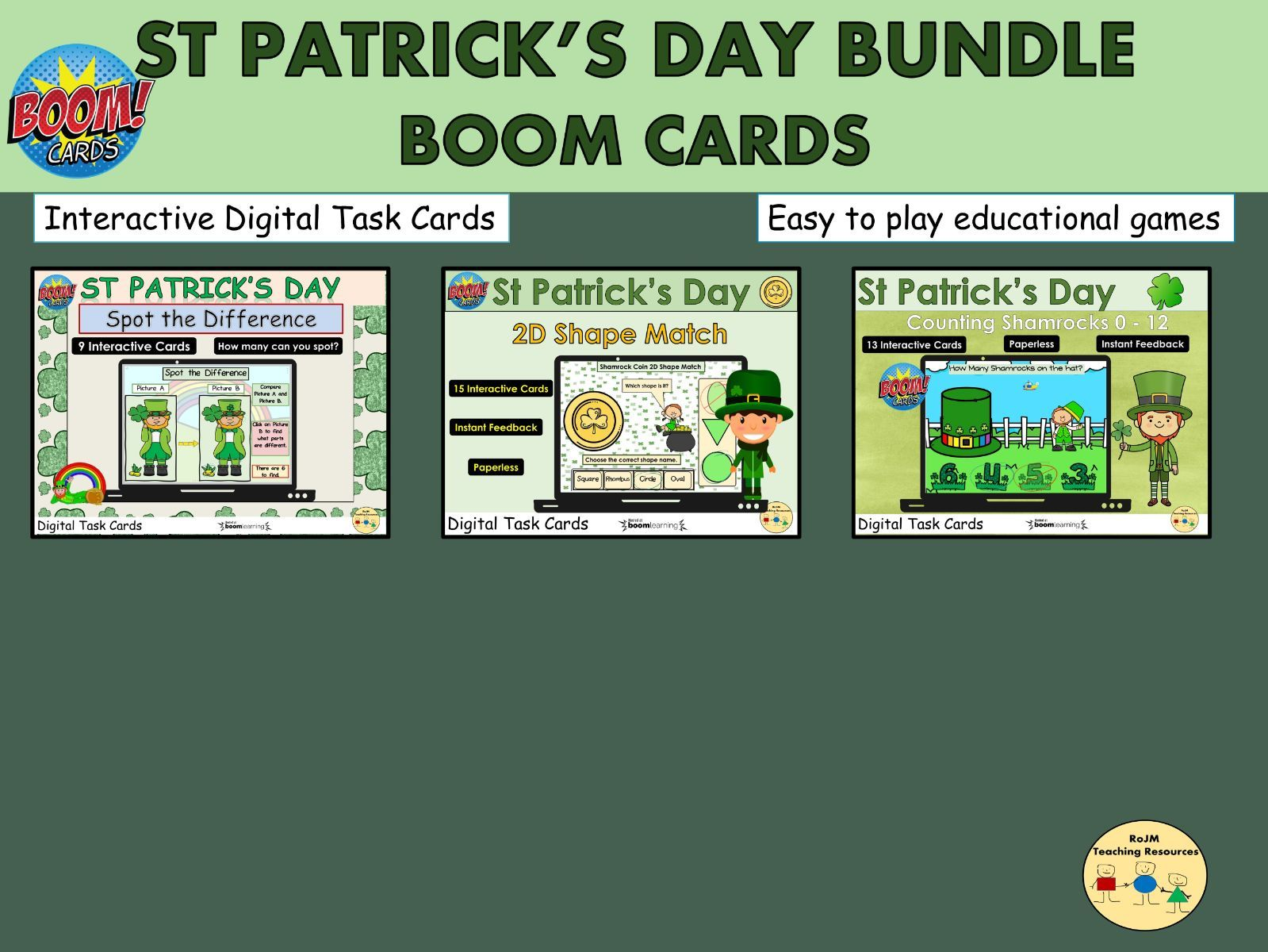 St Patricks Day Bundle Counting Spot the Difference Shapes Boom Cards™ Distance Home Learning