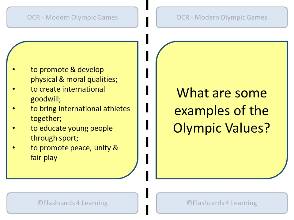 A Level PE (2016): OCR - The Modern Olympic Games - Dominoes