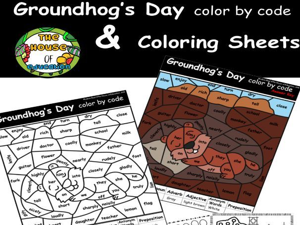 Groundhog's Day color by code, Groundhog Day Coloring Pages