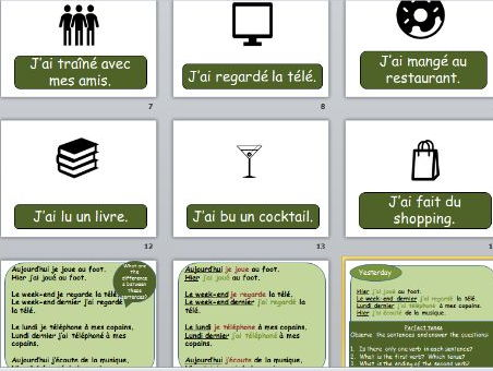 French Lesson Perfect Tense (with hobbies)