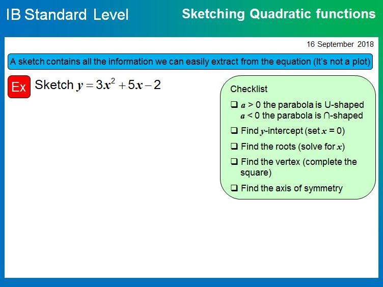 IB SL Mathematics - Functions and Quadratics