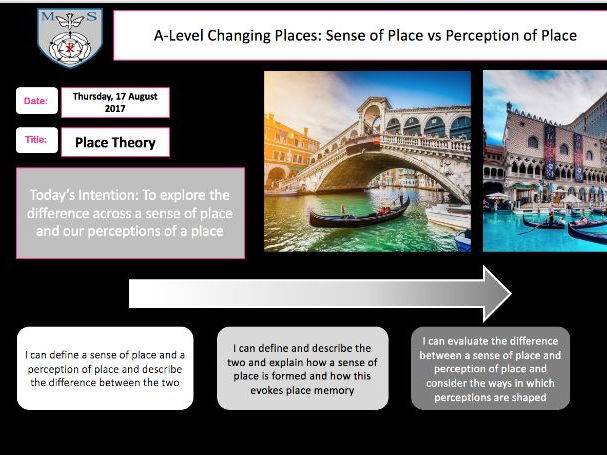 Changing Places Lesson 2- Sense of Place Vs Perception of Place