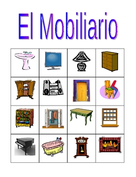 Mobiliario (Furniture in Spanish) Bingo game