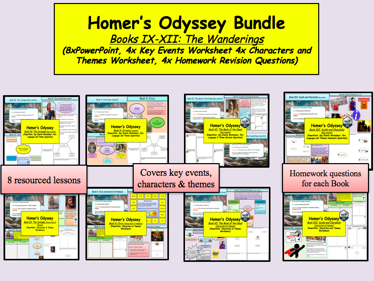 Homer's Odyssey – Books IX-XII Bundle (The Wanderings) 8x lesson and more