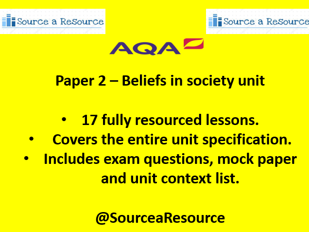 AQA Paper 2 Beliefs in society unit