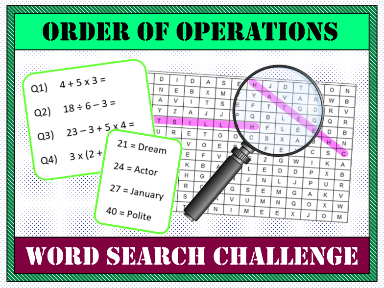 ❓ BIDMAS / BODMAS / Order of Operations  Word Search 🔎