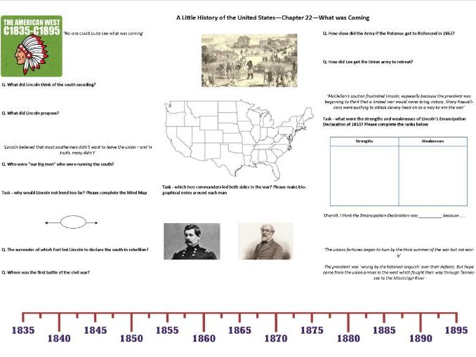 Worksheet to support J.W. Davidson's 'A Little History of the United States' Chp 22