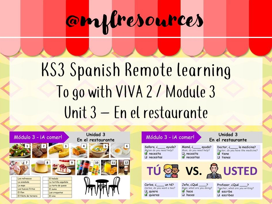 KS3 Spanish (remote learning) - Viva 2 - Module 3 - Unit 3 - En el restaurante
